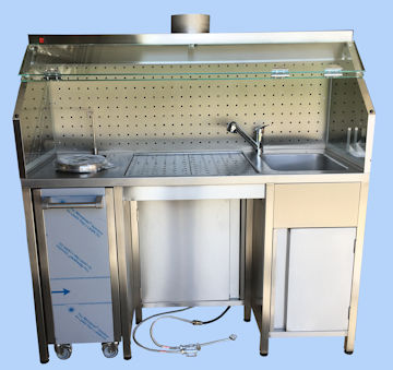 Table de macroscopie largeur 1500 laboratoire anapath